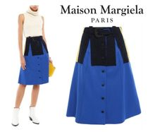 Maison Margiela☆Belted striped stretch knit-appliqued twill