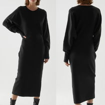 """""""COS"""" ORGANIC COTTON-WOOL MIX KNITTED A-LINE DRESS BLACK"""