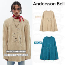 ★ANDERSSON BELL★UNISEX OVERSIZED EMBROIDERY SWEATER