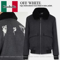 OFF WHITE logo embroidered wool blend aviator jacket