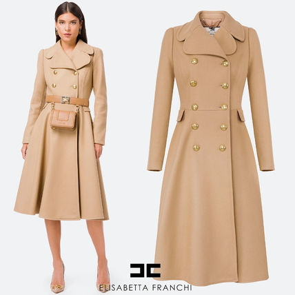 【ELISABETTA FRANCHI】FW20-21 Wool double-breast circle coat