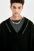 ATTENTIONROW ☆ DOUBLE STITCH OVER-FIT LANMSWOOL V NECK KNIT