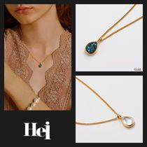 【Hei】20fw water drop pendant ネックレス (gold/white)