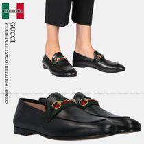 Gucci WEB-DETAILED SMOOTH LEATHER LOAFERS