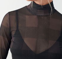 """""""& Other Stories"""" Fitted Turtleneck Top Black/Check"""