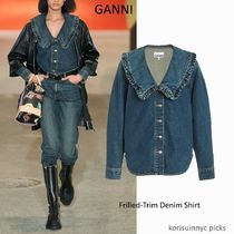 COOL*GANNI*Frilled-Trim Denim Shirt フリルデニムシャツ
