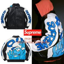FW20 Supreme Smurfs Leather Varsity Jacket - スマーフ