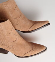 """""""RESERVED""""  WESTERN ANKLE SUEDE BOOTS BEIGE"""