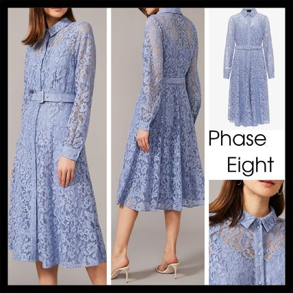 【Phase Eight】Autumn Lace Belted ドレス シャツ ワンピ BLUE