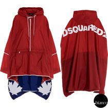 関税込DSQUARED2 2020FW Asymmetric Nylon Rain Cape ロゴ 長袖