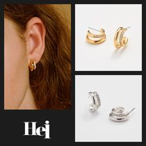 【Hei】20fw two-line cubic earring ピアス (gold/white)