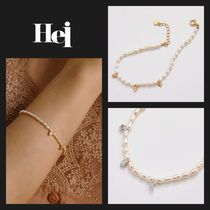 【Hei】20fw small-leaf pearl ブレスレット (gold/white)
