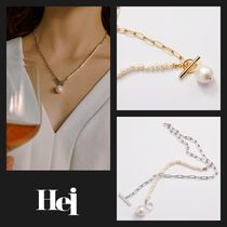 【Hei】20fw unbalance pearl toggle ネックレス (gold/white)