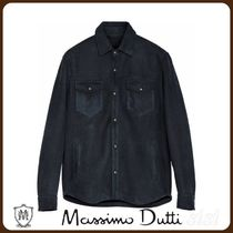 MassimoDutti♪DOUBLE-FACED LEATHER OVERSHIRT WITH POCKETS