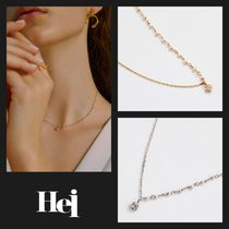 【Hei】20fw crystal unbalance pearl ネックレス (gold/white)