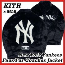 Kith MLB New York Yankees Faux Fur Coaches Jacket Navy FW 20