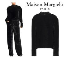 Maison Margiela☆Open-back satin-trimmed crushed-velvet top
