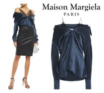 Maison Margiela☆Cold-shoulder lace-trimmed silk-satin top