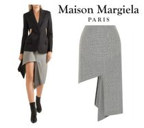 Maison Margiela☆Cutout houndstooth cotton midi skirt