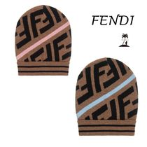 ★FENDI★Boys & Girls BrownFFロゴウールハット/Pink & Blue