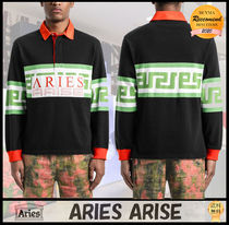 【SALE】Aries Meandrosラグビーシャツ 長袖 ロゴ 綿100%