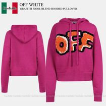 OFF WHITE GRAFFITI WOOL BLEND HOODED PULLOVER