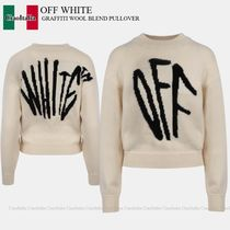 OFF WHITE GRAFFITI WOOL BLEND PULLOVER