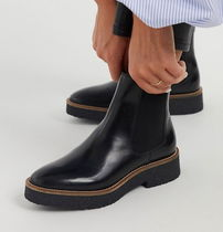 """""""& Other Stories""""Leather Platform Sole Chelsea Boots Black"""