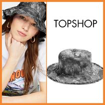 TOPSHOP『関税込み』BLACK TIE DYE FRAY BUCKET HAT 帽子 E185