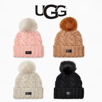 UGG【国内発送・関税込】Knit Cable Beanie Faux Fur Pom