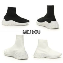 送料込 MIU MIU RUN HI-TOP SNEAKERS