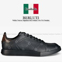 BERLUTI   Stellar Canvas Signature and Leather Low Sneaker