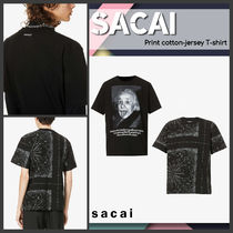 [Sacai] Print cotton-jersey T-shirt 送料関税込