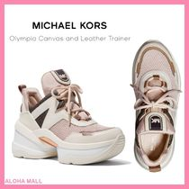 【Michael Kors】Olympia Canvas and Leather Trainer♪