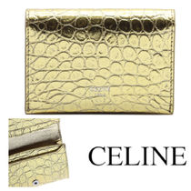CELINE CARD WALLET IN LAMINATED CROCODILE EMBOSSED CALFSKIN