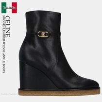 CELINE SMOOTH LEATHER WEDGE ANKLE BOOTS