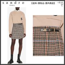 【海外限定】sandroスカート☆Dalya checked tweed wrapover min