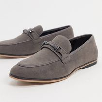 ASOS DESIGN loafers in grey faux suede with snaffle detail