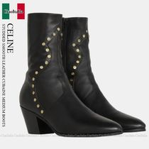 CELINE STUDDED SMOOTH LEATHER CUBAINE MEDIUM BOOTS