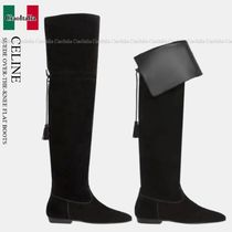 CELINE SUEDE OVER-THE-KNEE FLAT BOOTS