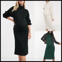 【Maternity】ASOS DESIGN midi rib dress with cowl neck