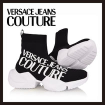 【Versace Jeans Couture】ブラック ロゴ ソックススニーカー