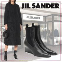 【JIL SANDER】Leather wedge ankle boots