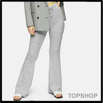 TOPSHOP★GREY RIBBED FLARED TROUSERS