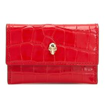 ALEXANDER MCQUEEN  クロコ風 スカル ロゴ カードケース RED