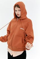 [ KIRSH ] OUTLINE LOGO HOODIE ZIPUP JA [BROWN]