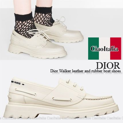 Dior フラットシューズ DIOR Dior Walker leather and rubber boat shoes