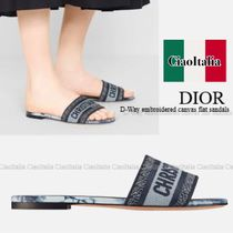 DIOR D-Way embroidered flat sandals