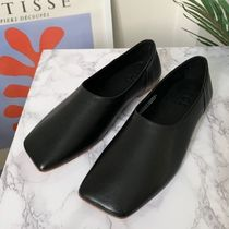 """""""COS"""" SQUARE TOE LEATHER BALLERINA SHOES BLACK"""