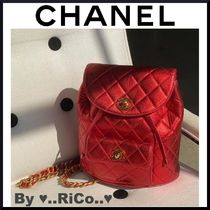CHANEL☆レア限定商品 RED METALLIC QUILTED LAMBSKIN BACKPACK